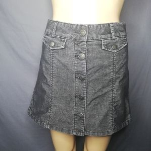 BDG grey corduroy button front skirt